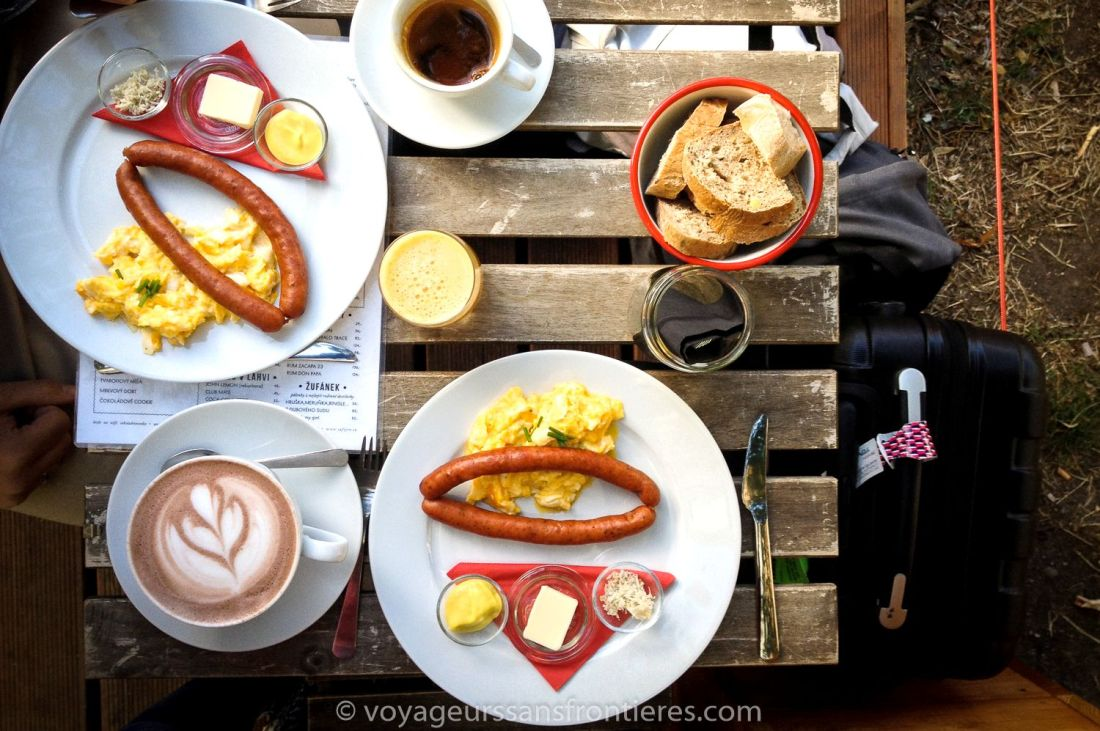 Copious breakfast at Café Jen - Prague, Czech Republic