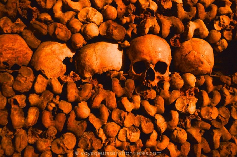 Crânes et ossements - Catacombes de Paris, France