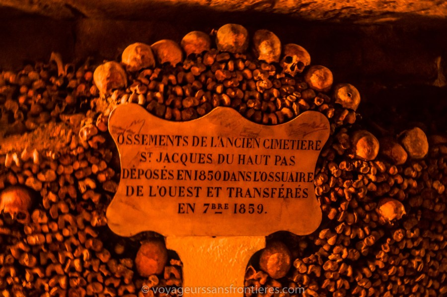 Date de transfert des ossements - Les Catacombes de Paris, France