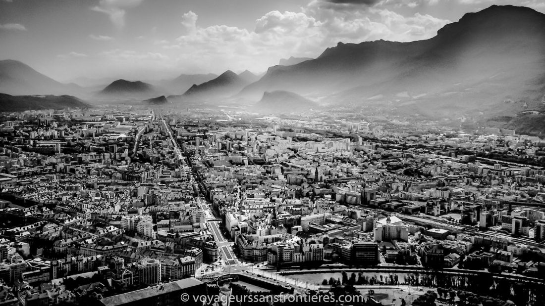 Panoramic view of Grenoble from la Bastille - Grenoble, France