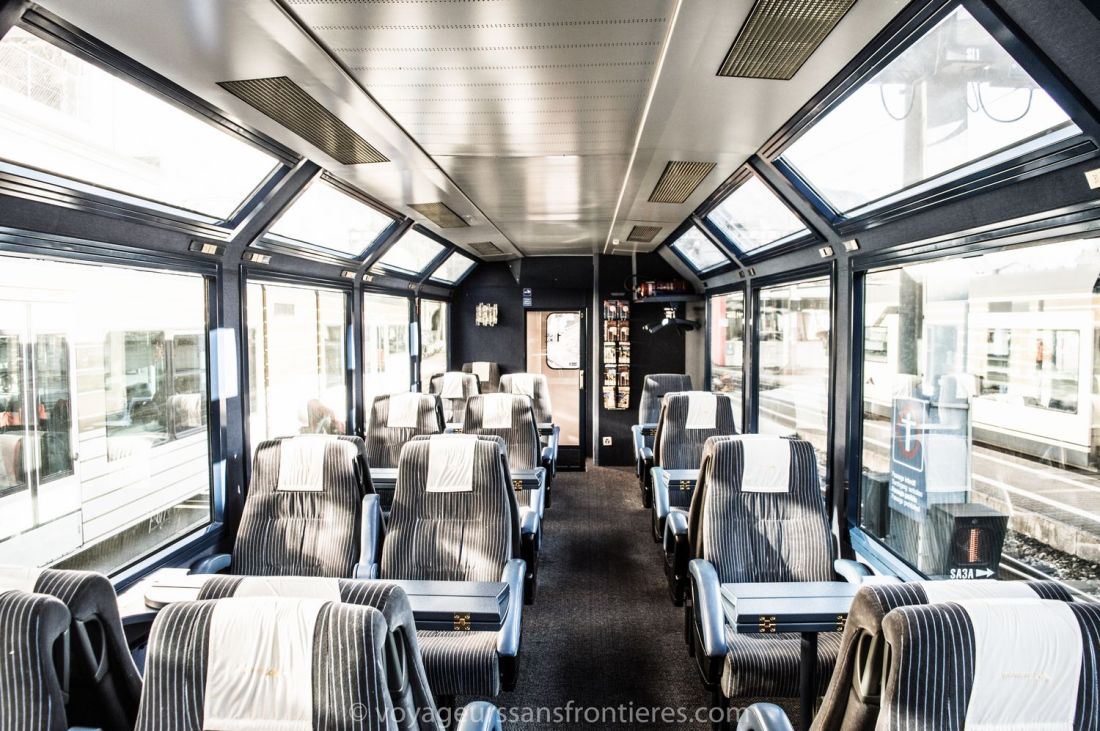 Inside the panoramic Train du Fromage (Cheese train) - Montreux, Switzerland