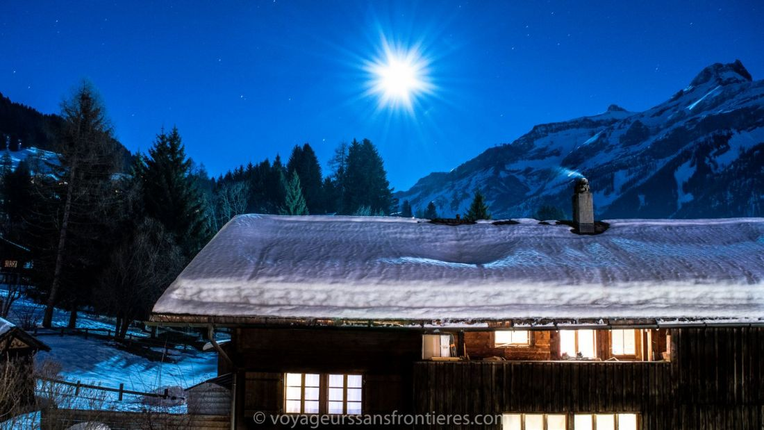 Beautiful view of the moon from our room at the Les Lilas hotel - Les Diablerets, Switzerland