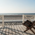 Deckchairs on the terrace of our Haagse Strandhuisjes beach house on the Kijkduin beach - The Hague, Netherlands