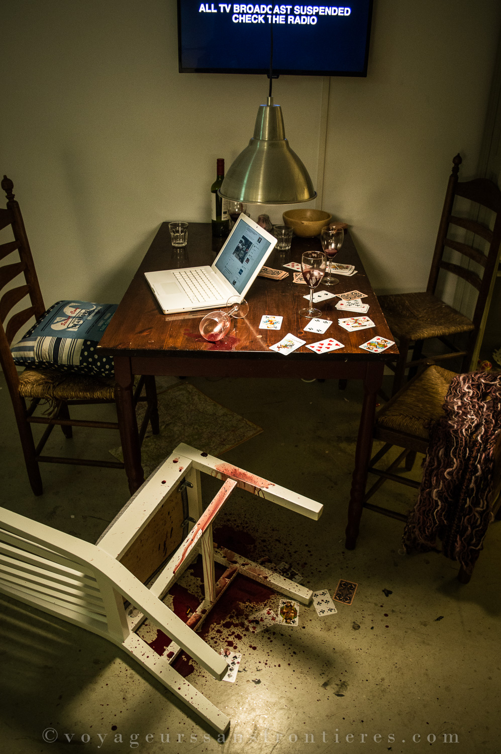 Messy table at the Humanity House Museum - The Hague, The Netherlands