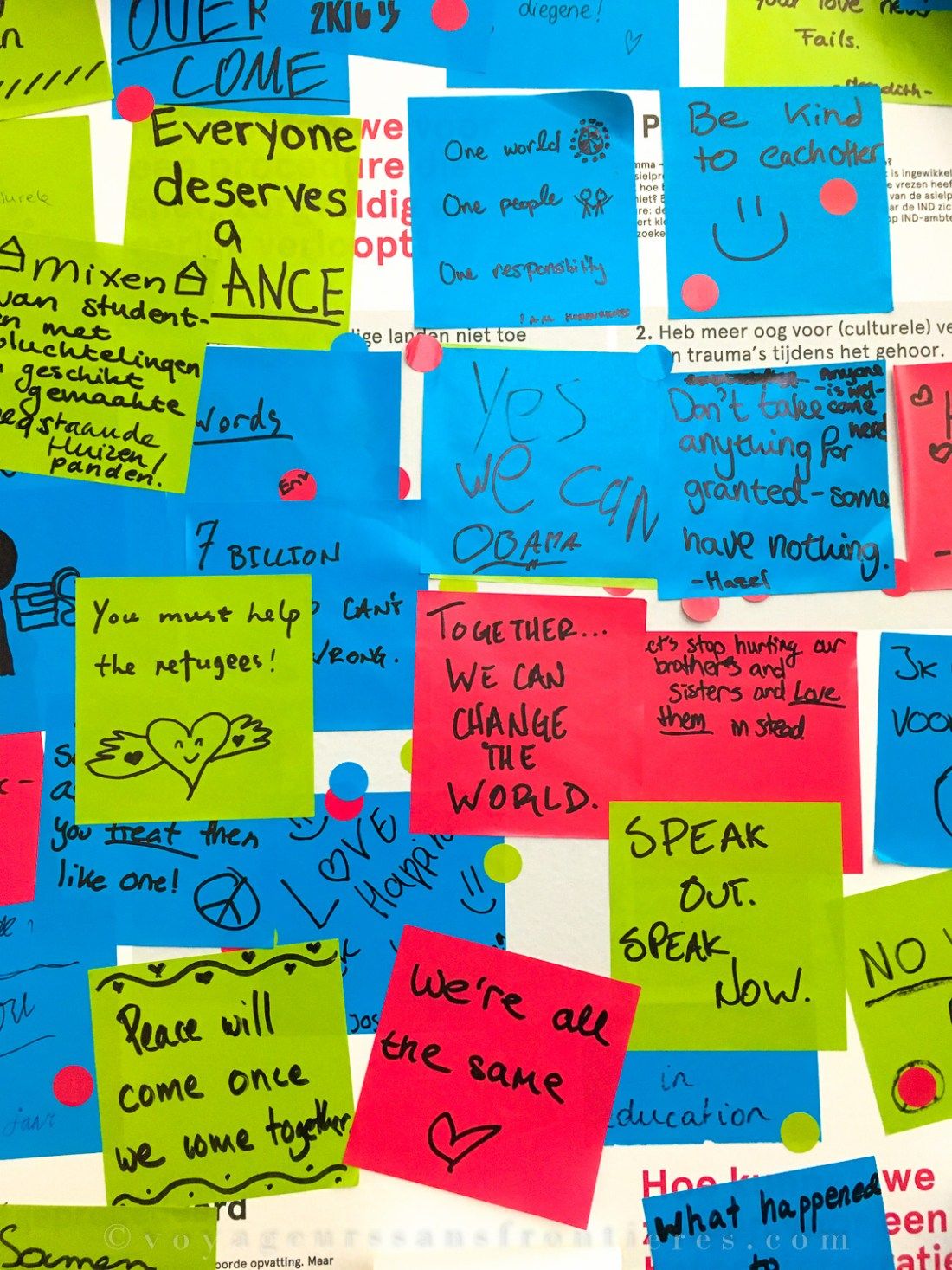 Messages left by the visitors at the Humanity House - The Hague, The Netherlands