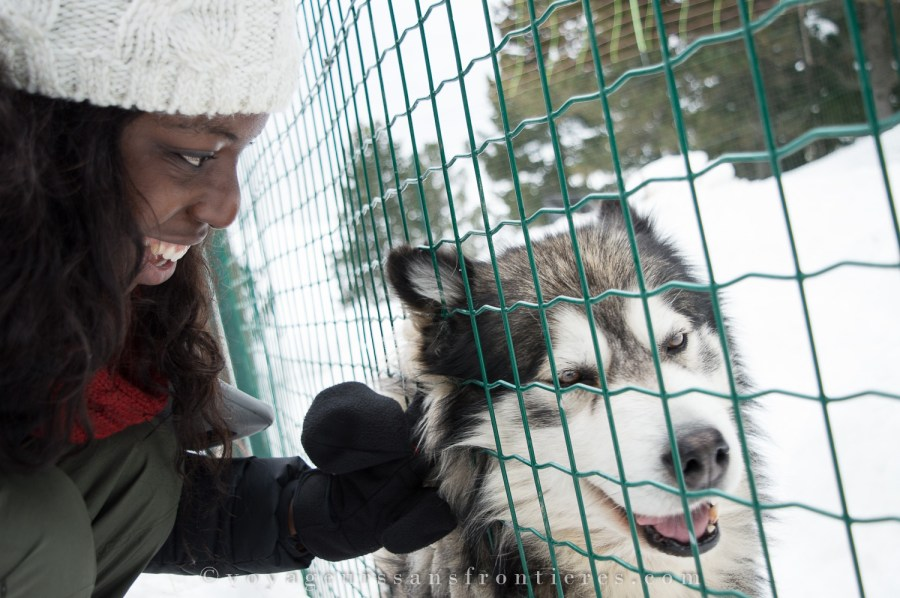 Nath with a sled dog at the Angaka Nordic Village - Plateau de Beille, France