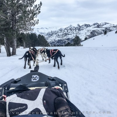 Snowy landscape in Aston mountains while dog sledding at Angaka Nordic Village - Plateau de Beille, France