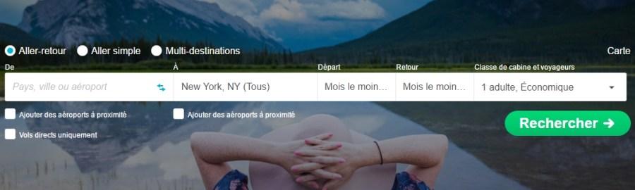 Recherche Skyscanner New York - Voyageurs Sans Frontières