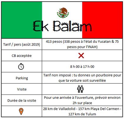 Informations utiles pour visiter Ek Balam dans le Yucatán.