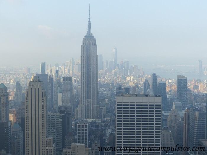 Vue sur l'Empire State Building avec en arrière plan, le One World.