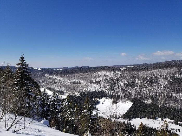 Vue sur la vallée du Jura, en plein hiver.