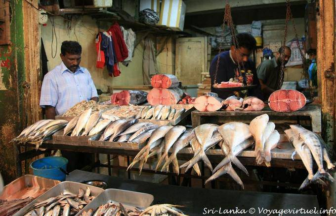 Fresh fish on the fishmongers stall Nuwara Eliya Market  Sri Lanka Ceylon