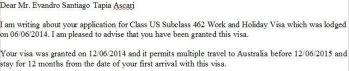 Una sección de la visa entregada.