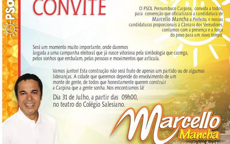 PSOL confirmará candidatura de Marcello Mancha na manhã deste domingo (31) em Carpina
