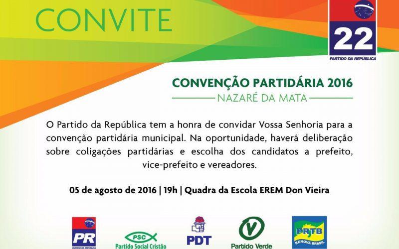 PR de Nazaré da Mata realiza convenção nesta sexta –feira (5)