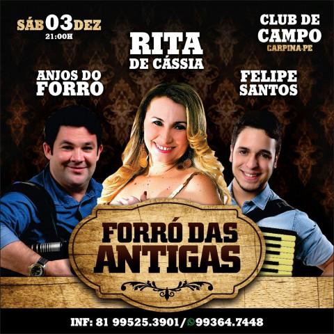 Carpina: Rita de Cássia, Anjos do Forro e Felipe Santos farão shows em dezembro