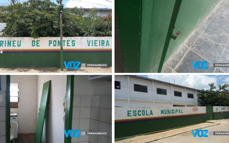 Escola Municipal Irineu de Pontes, foi arrombada em Carpina