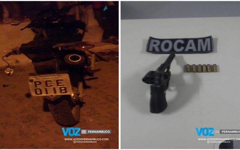Arma e moto são apreendidas em Paudalho