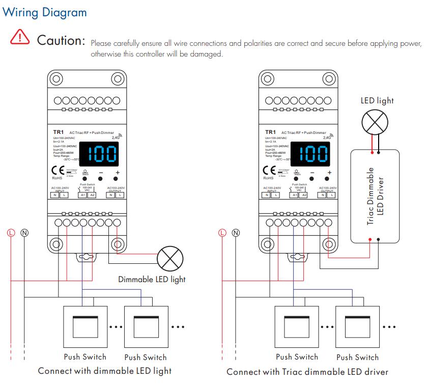 Skydance TR1 Led Controller 1CH*2A RF + Push AC Phase-Cut