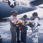 CAPT Walker, USN, ret. with O Club waitresses Samiko (right) and Komiko (left).
