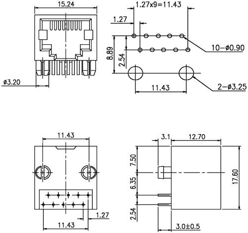 Konektor RJ50 zásuvka 10 PIN vývody 10p10c THT