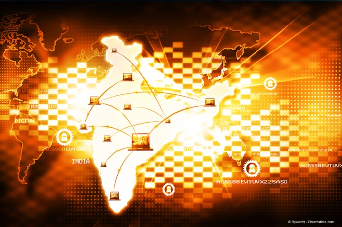 Graphic depiction of an Indian network on an map of India