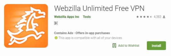 Webzilla Unlimited Free VPN For Windows