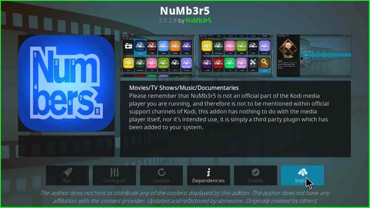 Install NuMb3r5 Kodi Addon