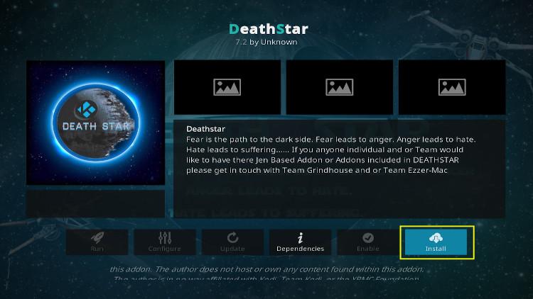 Death star kodi addon step 3