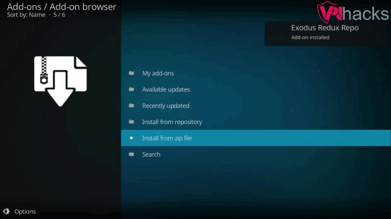 exodus redux repo installed message