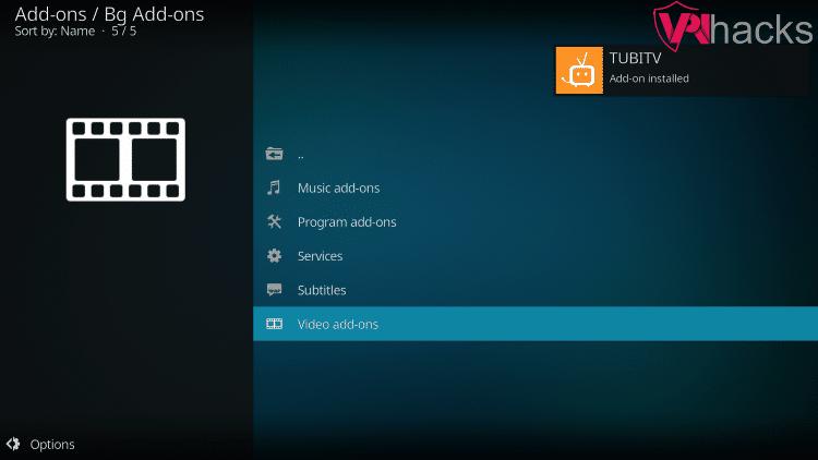 tubitv addon installed