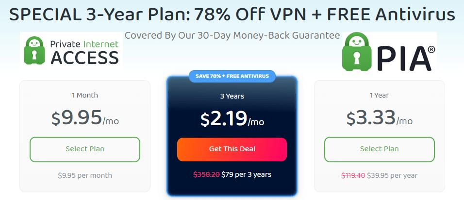 PrivateInternetAccess Offer