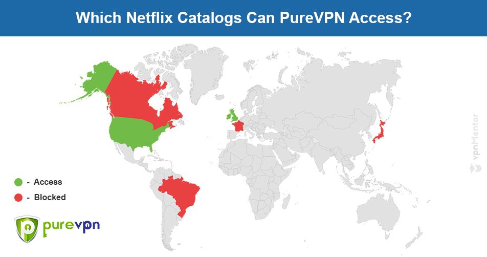 PureVPN Netflix map