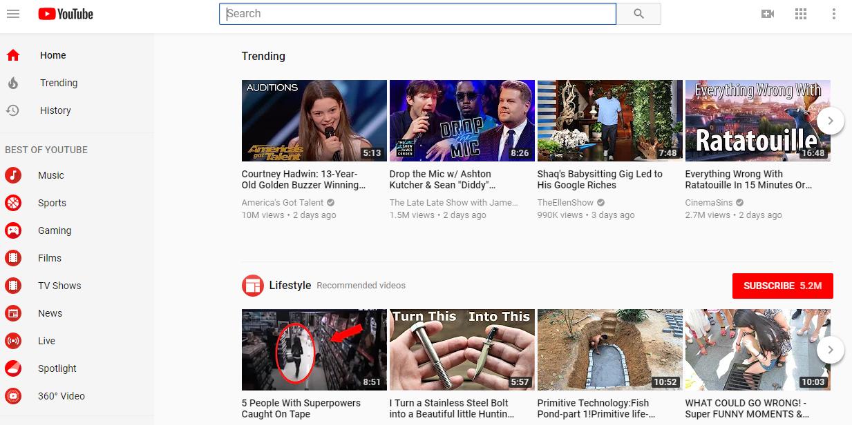 youtube et de tout regarder