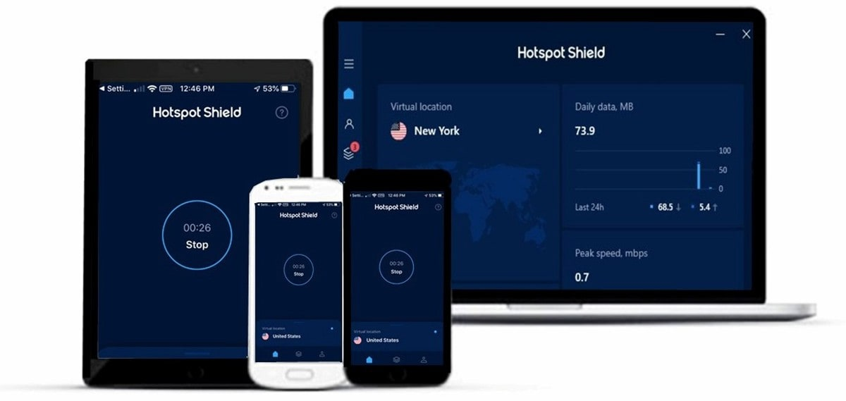 Small assortment of technological devices compatible with Hotspot Shield VPN.