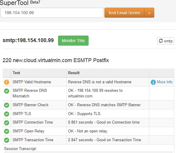 MXToolbox SMTP Error VirtualMin