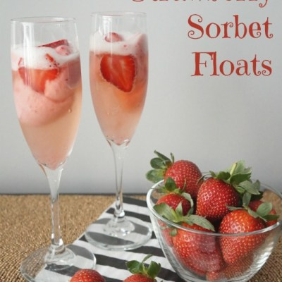Delicious and romantic Prosecco and Strawberry Sorbet Floats