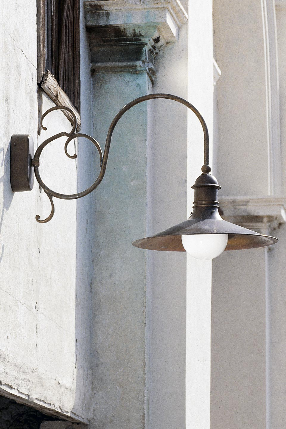 patinated brass wall lamp conical reflector