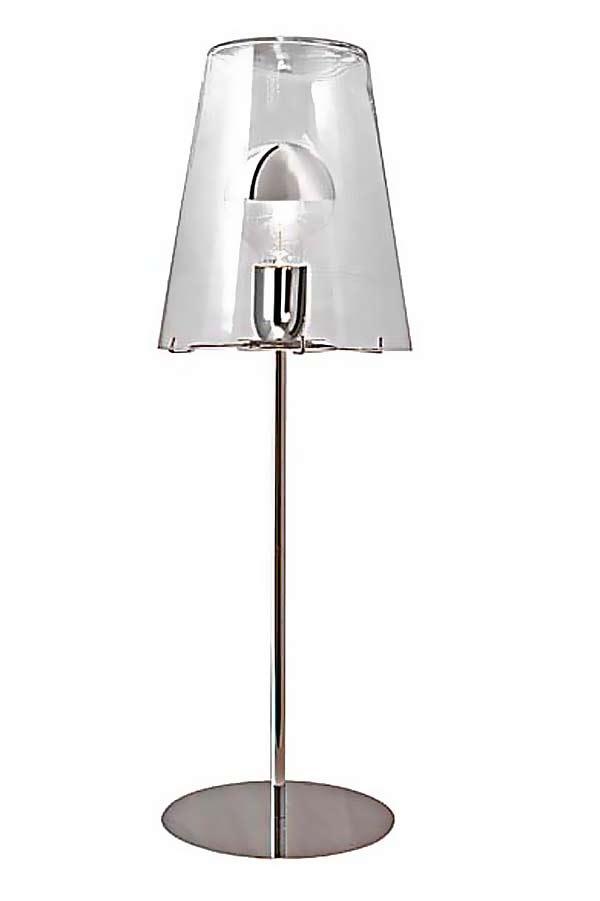 lampe de table avec abat jour conique en verre transparent