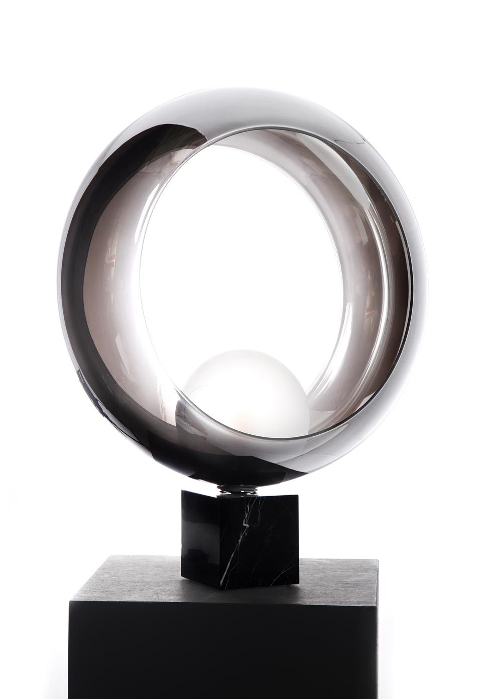 Contemporary Table Lamp Marble Cube Base Chromed Glass Ring