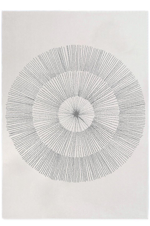 tapis contemporain motif graphique circulaire ecru et gris