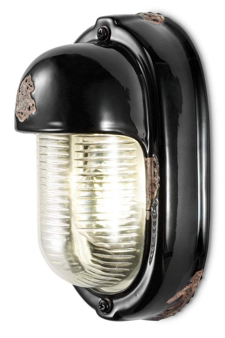 applique industrielle ovale en ceramique ecaillee et verre moule