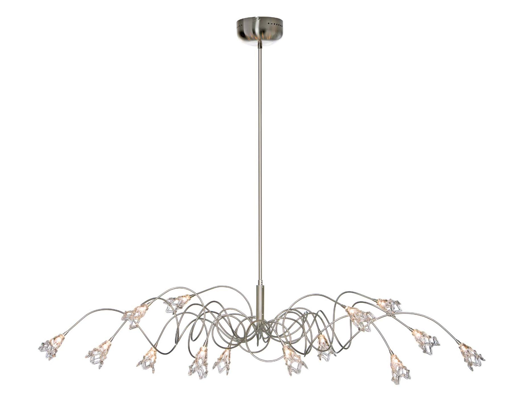 Flag Oval 14 Light Chandelier With Glass Flowers
