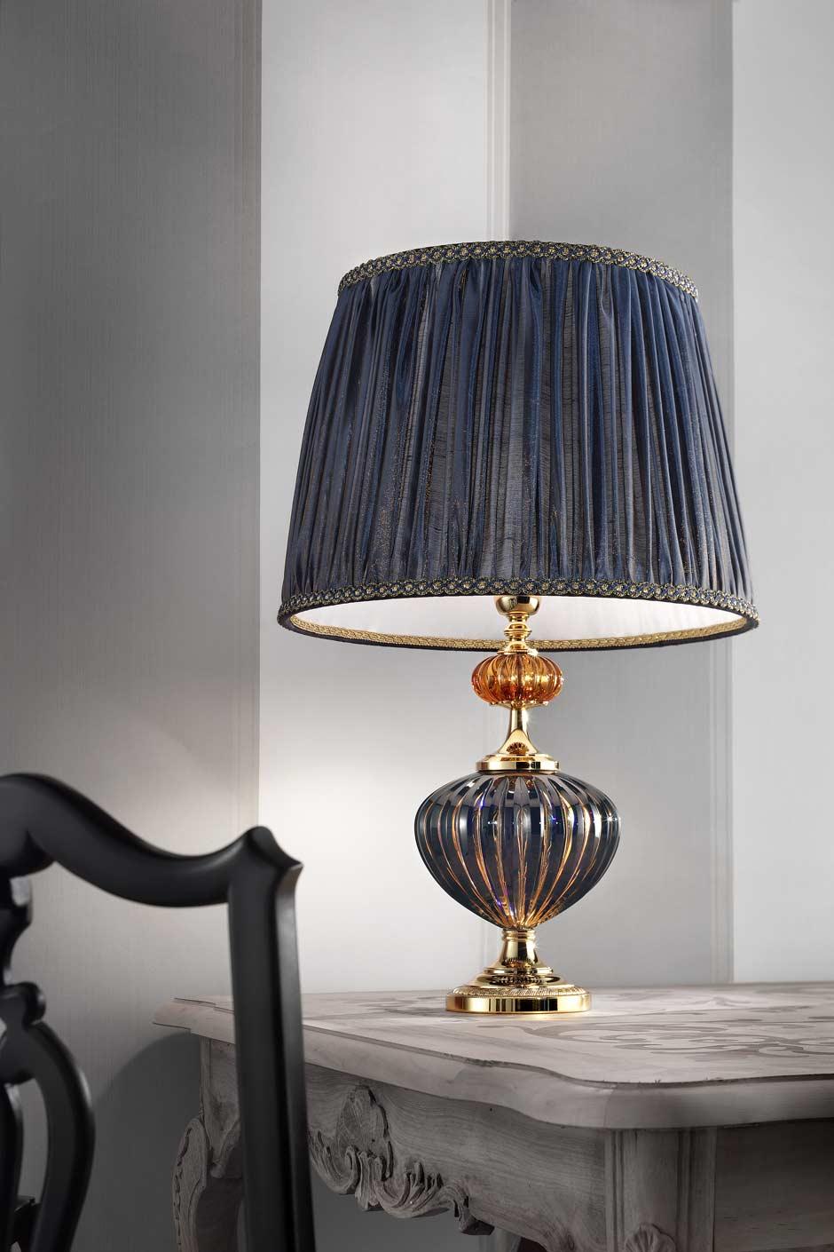 Dark Blue And Gold Murano Glass Table Lamp Masiero