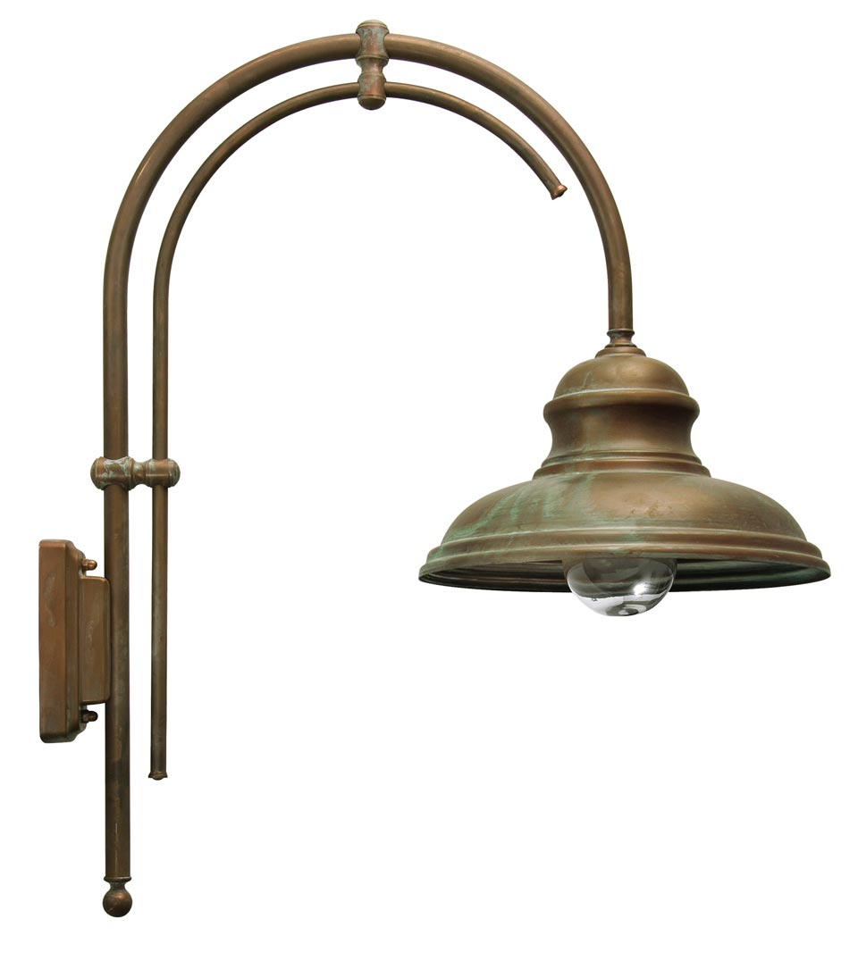 country range wall light in solid brass touch of verdigris double u arm ip44