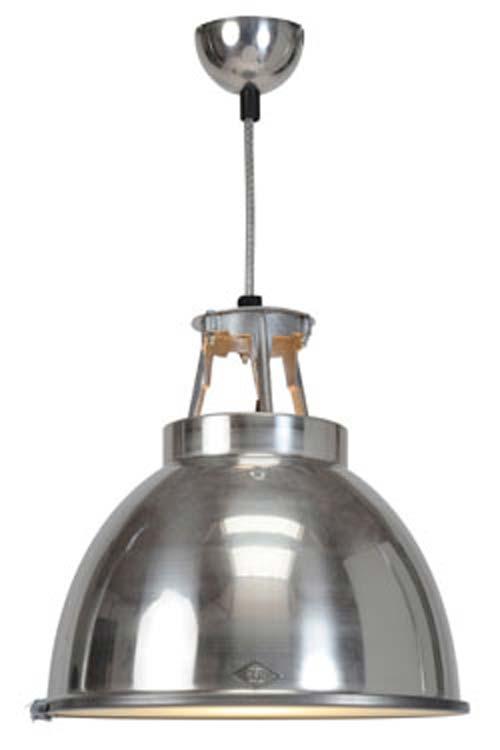 grande suspension aluminium design industriel en metal laque avec verre de protection
