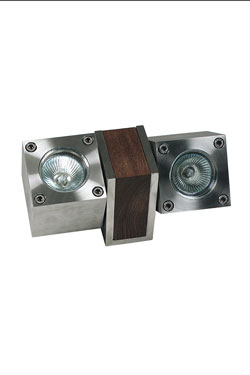 outdoor square spot in stainless steel on wooden support exists with 1 spot