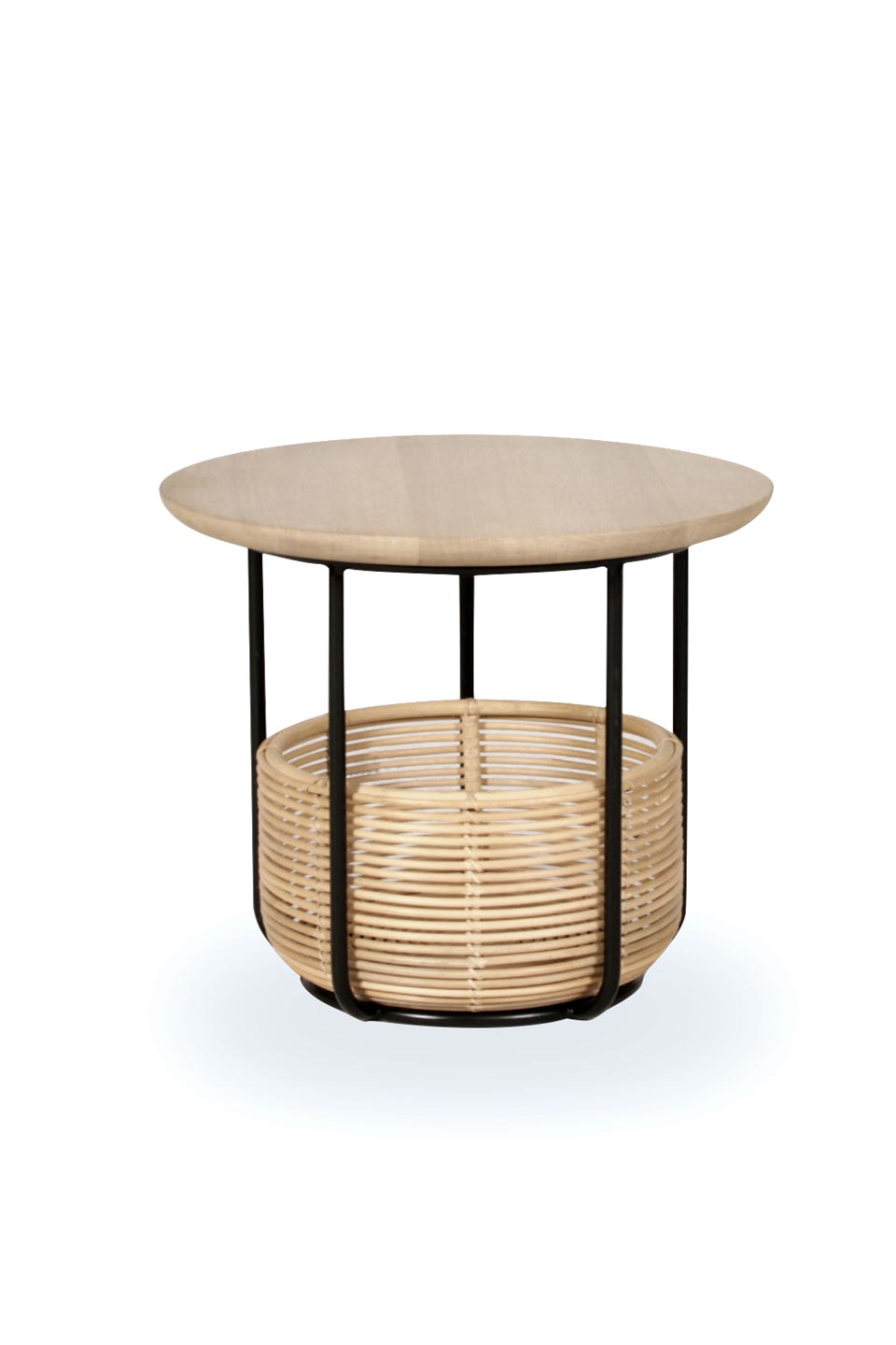 Vivi Small Table And Basket In Black Metal And Rattan Vincent Sheppard Contemporary Design Lighting Ref 18110063