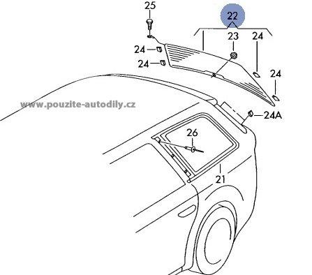 Zadni vyhřivane sklo 4B9845501N Audi A6 C5 Avant/ Allroad
