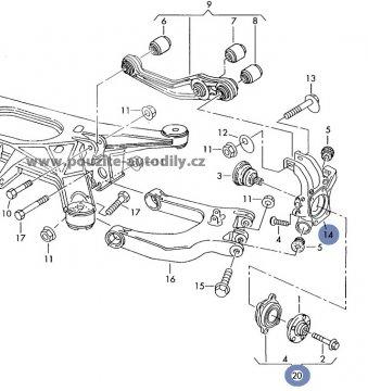 Těhlice s nábojkou vpravo Audi A8 Quattro D3 02